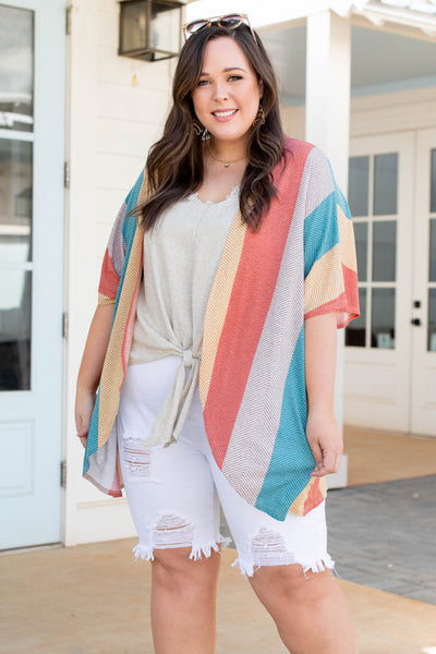 tops, kimono, orange, striped, half sleeves