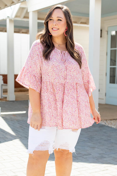 top, casual, babydoll. pink, floral, bell sleeves