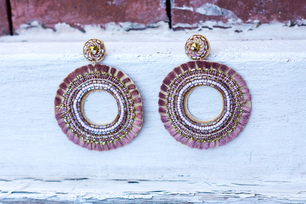 Moon Child Earrings, Mauve