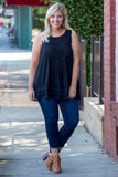 top, tank top, flowy, crochet detail, black
