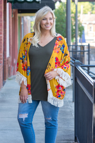 Love On The Brain Kimono, Mustard