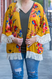 kimono, three quarter sleeve, fringe, flowy, thin, mustard, floral, red, blue, green, comfy