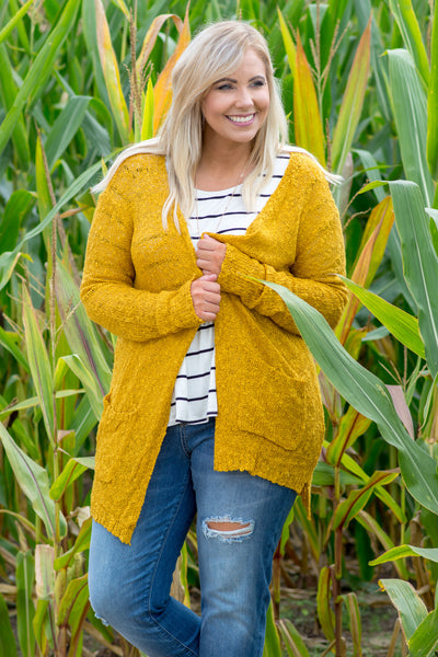 cardigan, long sleeve, long, pockets, mustard, solid, fuzzy, comfy, fall, winter