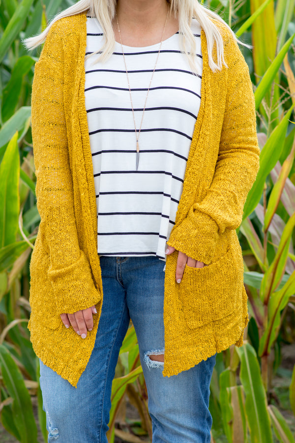 Comfort Is Key Cardigan, Mustard