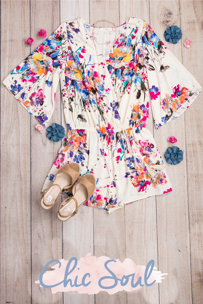 Bouquet of Beauty Romper, Cream