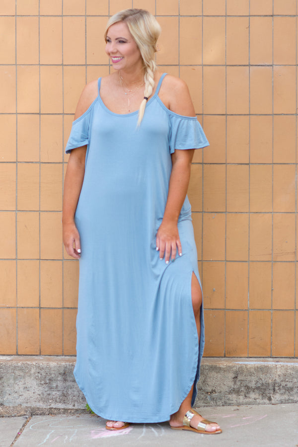 Breeze On By Maxi Dress, Chambray