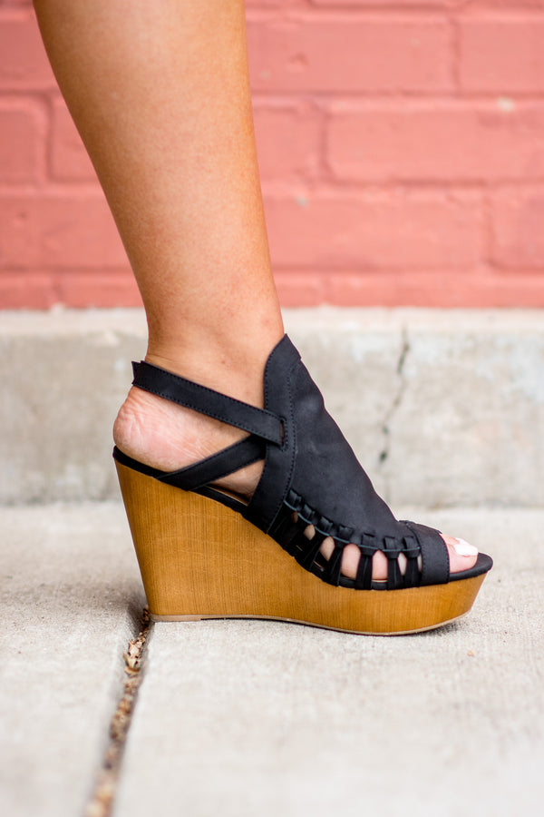 Thrilled To Be Here Wedges, Black