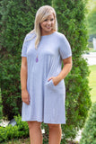 dress, gray, short sleeve, flowy, fall, pockets
