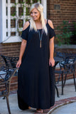 dress, maxi, short sleeve, off the shoulder, flowy, black, comfy