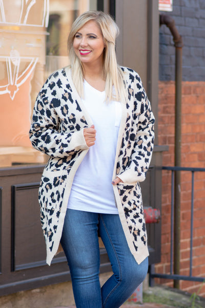 cardigan, sweater, knit, cream, leopard print, pockets, cozy, comfy