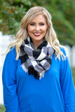 scarf, infinity, black, white, plaid, comfy, fringed, fall, winter