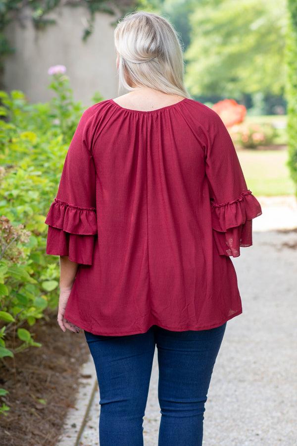 Choose Chic Blouse, Burgundy