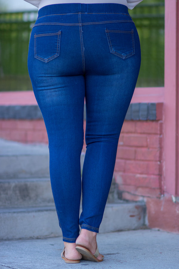 jeggings, long, skinny, blue, distressed, ripped, comfy