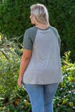 shirt, short sleeve, solid sleeves, striped, moss, green, white, loose, comfy, basic tee