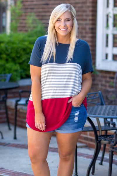tunic, short sleeve, curved hem, long, loose, navy, red, white, gray, stripes, colorblock, comfy