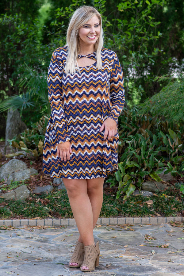 Better Than Yesterday Dress, Navy-Mustard