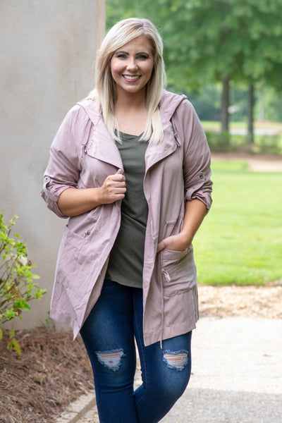 jacket, long sleeve, blush, zip up, hood, pockets, cinch waist
