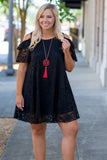dress, short, short sleeve, cold shoulder, flowy, black, lace, comfy
