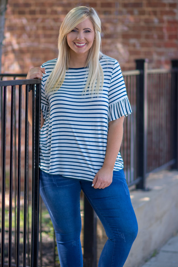 Striped Treasures Top, Navy