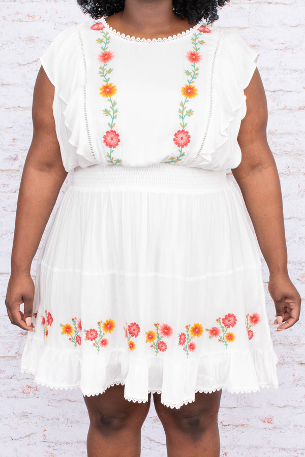 dress, short, short sleeve, ruffle sleeves, cinched waist, flowy, white, embroidered, pink, green, orange, comfy, spring, summer