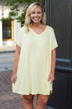 dress, lemon, pockets, short sleeve, short, comfy, flowy