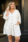 dress, short, three quarter sleeve, vneck, button down, pockets, babydoll, white, solid, waffle knit, comfy, flowy