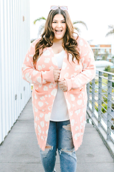 cardigan, long sleeve, long, pockets, blush, white, leopard, comfy, fall, winter