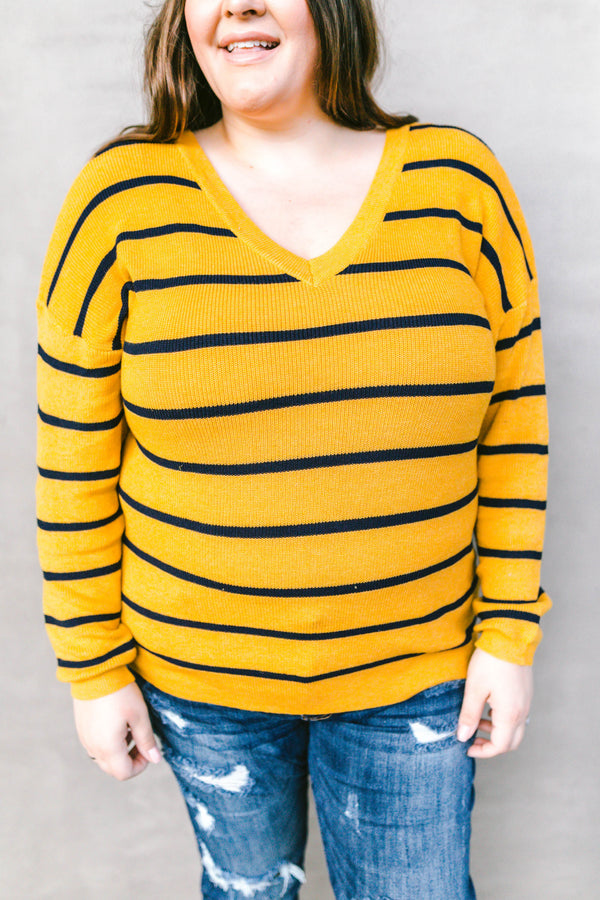 sweater, long sleeve, vneck, mustard, navy, striped, comfy, fall, winter