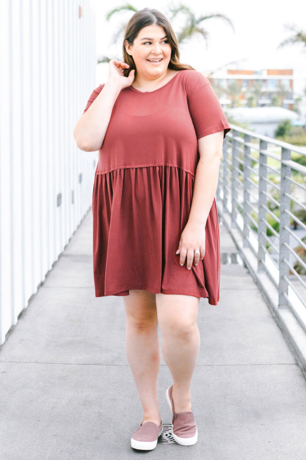 dress, short, short sleeve, babydoll, ruffled, flowy, red, solid, comfy