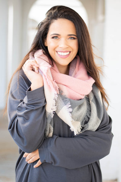 scarf, fringe, pink, gray, white, plaid, fall, winter