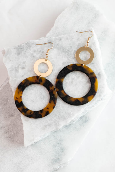 earrings, dangly, gold circle, tortoise circle, large