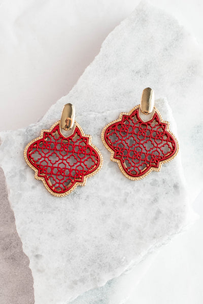 earrings, gold, red, dangly, big, cage design