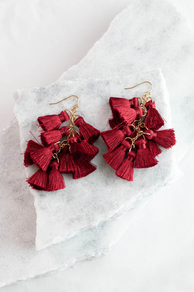 earrings, dangly, burgundy, tassels, long, gold