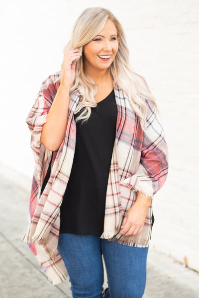 poncho, three quarter sleeve, fringe, asymmetrical hem, tan, navy, red, plaid, outerwear, fall