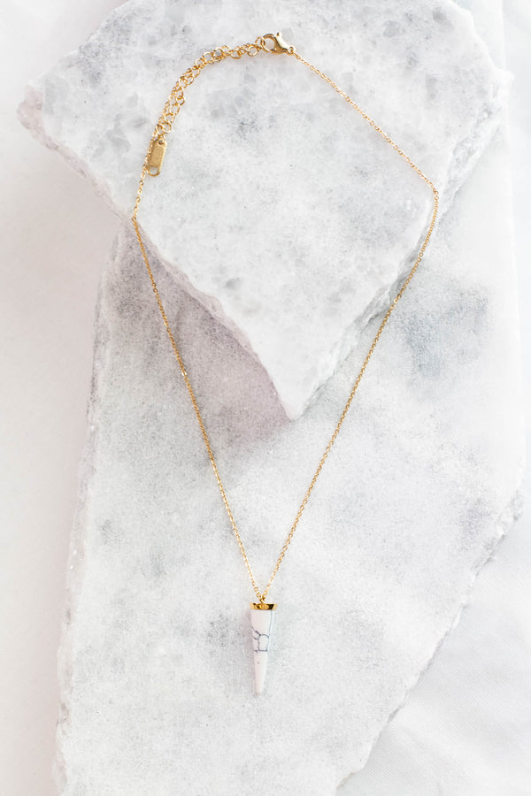 necklace, short chain, gold chain, white pendant, geometric