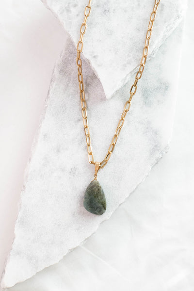 necklace, long, chunky chain, gold chain, gray rock pendant