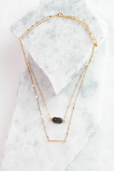 necklace, layered, black gem pendant, gold bar pendant, detailed chains, gold