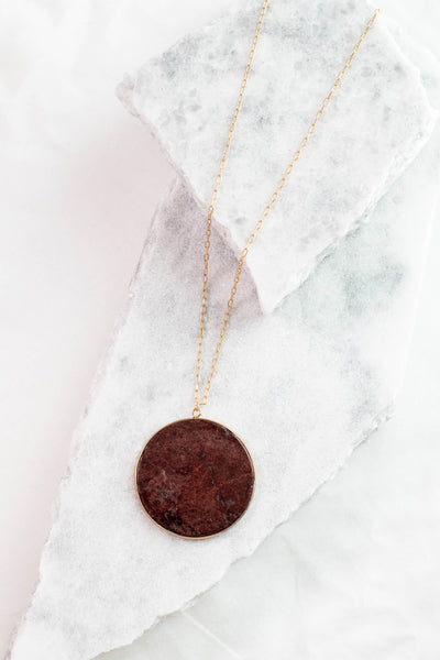necklace, long chain, gold, circle pendant, burgundy