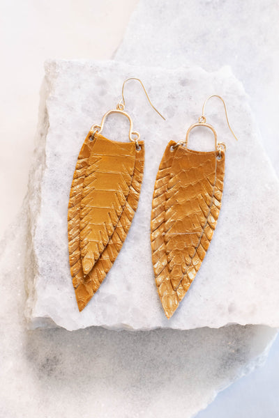 earrings, dangly, feathers, mustard, long