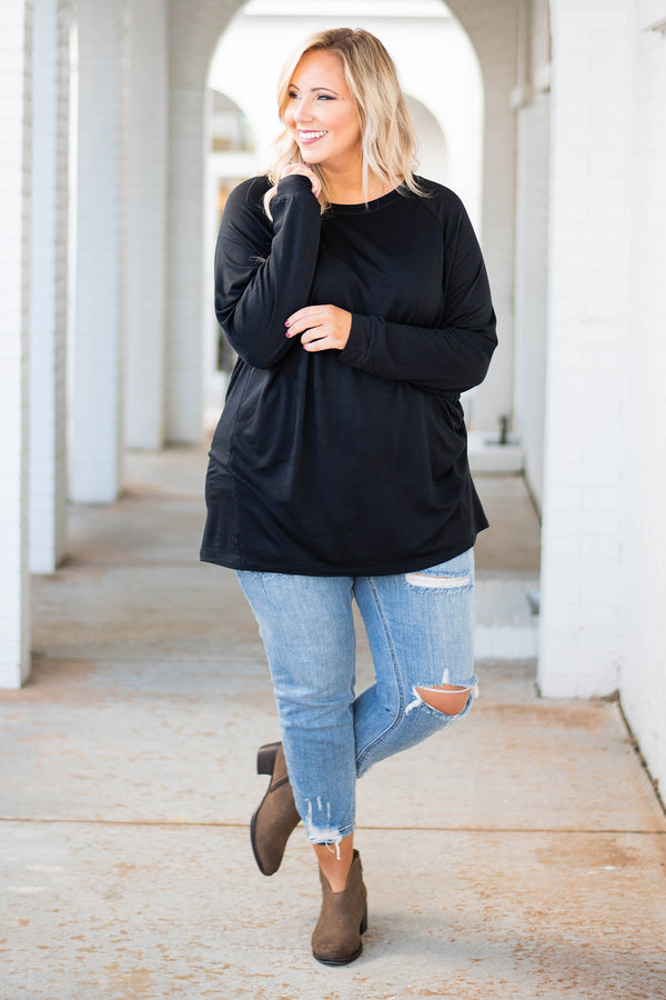tunic, long sleeve, scoop neck, black, solid, comfy, loose, fleece