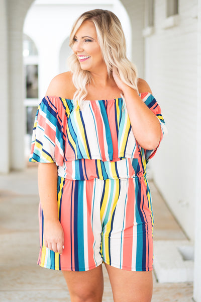 romper, off the shoulder, ruffle top, fitted waist, shorts, yellow, white, blue, coral, striped, comfy, spring, summer
