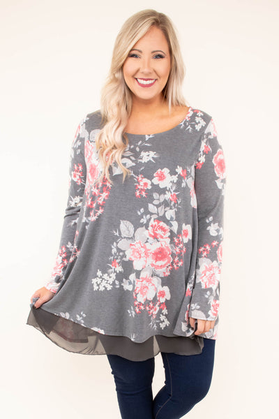 shirt, long sleeve, long, scoop neck, flowy, charcoal, floral, white, pink, sheer hemline, comfy, fall, winter