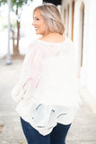 sweater, long sleeve, wavy hem, loose knit, white, solid, comfy, fall, winter