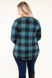 shirt, long sleeve, vneck, curved he,. chest pocket, glitter pocket, black, teal, plaid, comfy, fall, winter