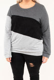 top, long sleeve, color block, charcoal, black, gray