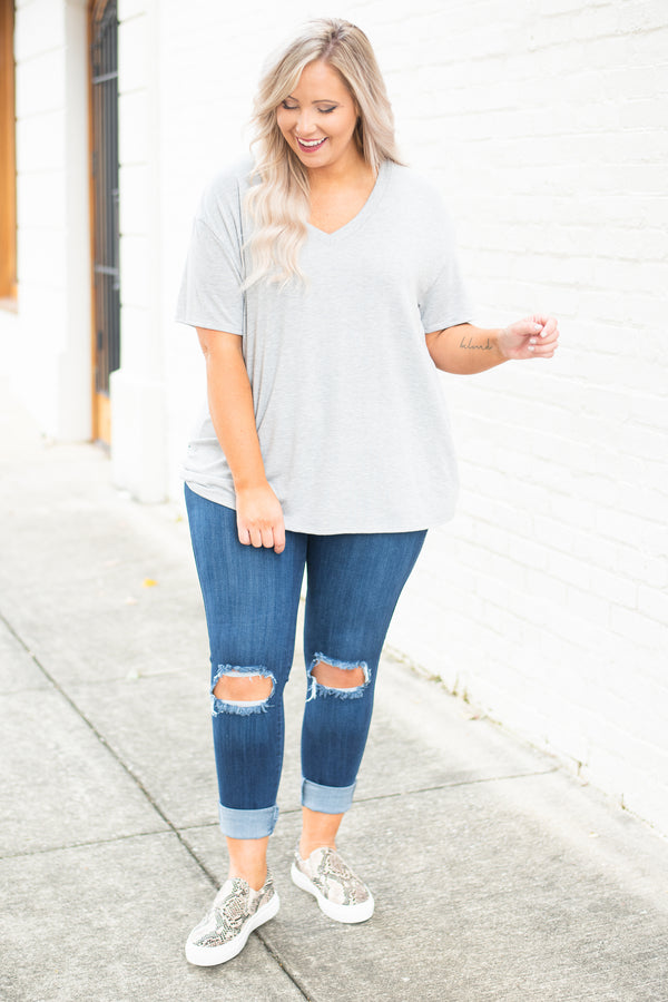 top, v neck, short sleeve, gray, heather gray, flowy, comfy