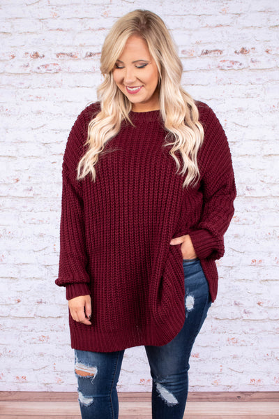Watching The Skyline Sweater, Dark Burgundy