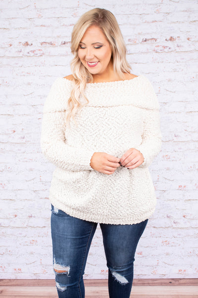 top, sweater, off the shoulder, knit, winter, fall, cream, texture, comfy, cozy