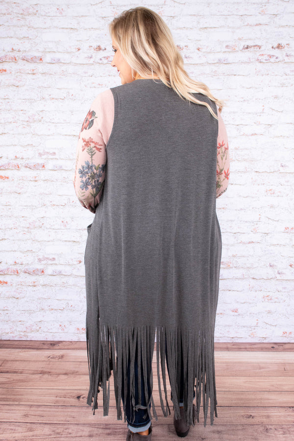 vest, floor length, fringe, pockets, flowy, gray, comfy, outerwear