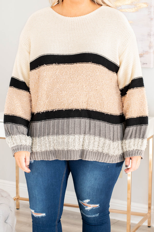top, sweater, warm, stripes, neutral, long sleeve, soft